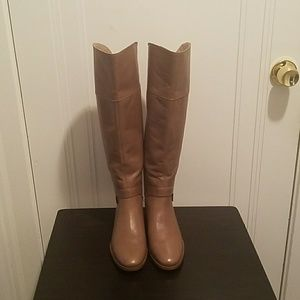 Taupe knee high riding boots